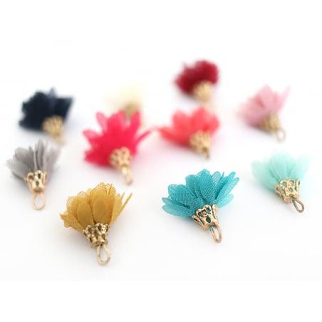 Lot de 10 pendentifs pompons fleurs en organza - couleurs aléatoires et assorties  - 4
