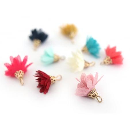 Lot de 10 pendentifs pompons fleurs en organza - couleurs aléatoires et assorties  - 5