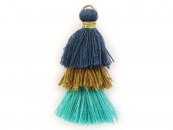 Pendentif triple pompon - bleu , vert , canard  - 1