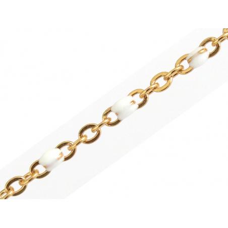 Acheter Chaîne forçat dorée avec points émaillés résine époxy blanche x 20 cm - 1,69€ en ligne sur La Petite Epicerie - 100%...