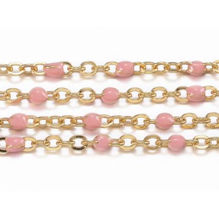 Acheter Chaîne forçat dorée avec points émaillés résine époxy rose x 20 cm - 1,69€ en ligne sur La Petite Epicerie - 100% Lo...