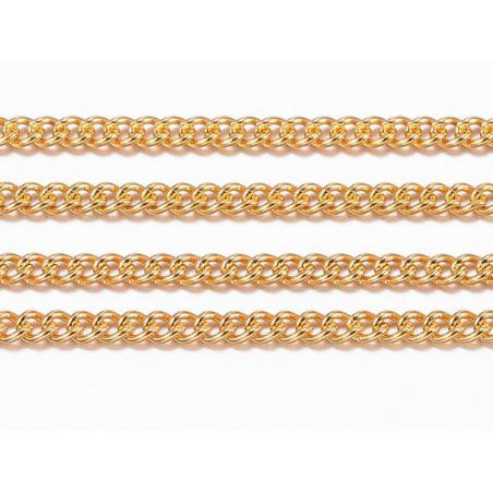 Chaîne gourmette 1,1 mm dorée acier inox x 20 cm  - 3