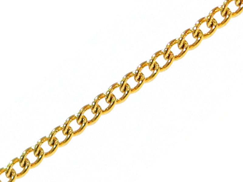 Chaîne gourmette 1,1 mm dorée acier inox x 20 cm  - 1