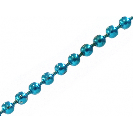 Chaine bille 1,5 mm turquoise x 20 cm  - 1