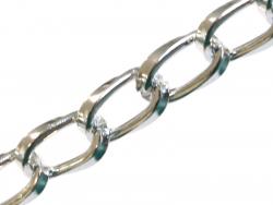Chaine gourmette 9 mm aluminium argenté clair x 20 cm  - 1