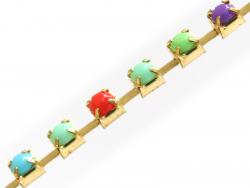 Chaîne fantaisie 3 mm strass multicolore x 20 cm  - 1