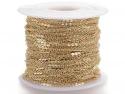 Chaine forçat 1 mm fantaisie dorée à l'or fin 24K x 20 cm  - 2