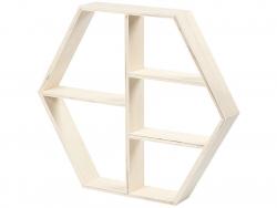 1 étagère en bois - forme hexagonale  - 1