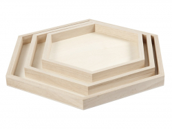 Lot de 3 plateaux en bois - forme hexagonale  - 1