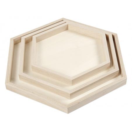 Acheter Lot de 3 plateaux en bois - forme hexagonale - 11,99€ en ligne sur La Petite Epicerie - 100% Loisirs créatifs