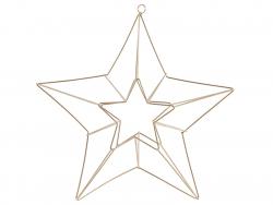 Etoile décorative 3D à suspendre -  métal doré  - 1