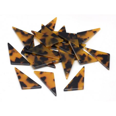 Pendentif  triangle écaille de tortue en acétate  - 2