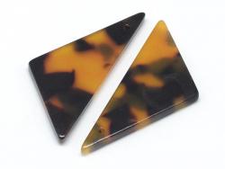 Pendentif  triangle écaille de tortue en acétate  - 3