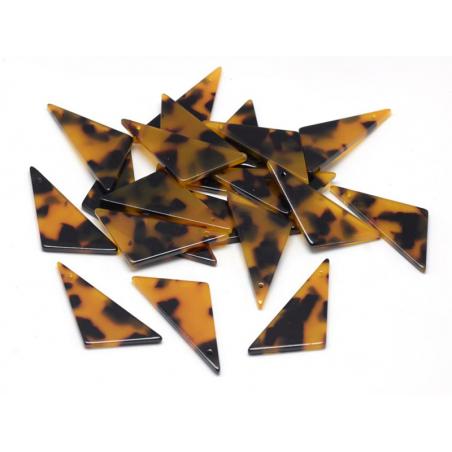 Pendentif  triangle écaille de tortue en acétate  - 4
