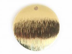 Pendentif rond bombé 18 mm - doré à l'or fin  - 1