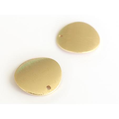 Pendentif rond bombé 18 mm - doré à l'or fin  - 2
