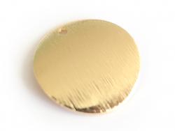 Pendentif rond bombé 18 mm - doré à l'or fin  - 3