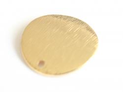 Pendentif rond bombé 18 mm - doré à l'or fin  - 4
