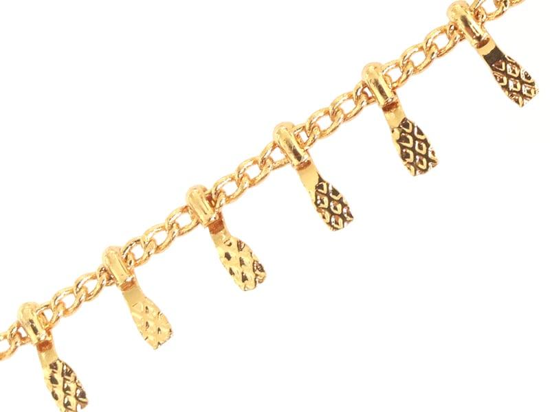 Chaîne gouttes martelées - dorée à l'or fin 24 K x 20 cm  - 1