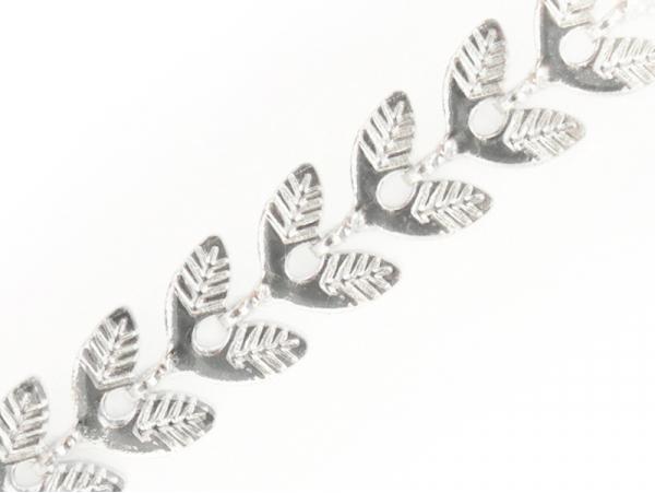 Chaine épi feuilles  - plaqué argent 925 x 20 cm  - 1