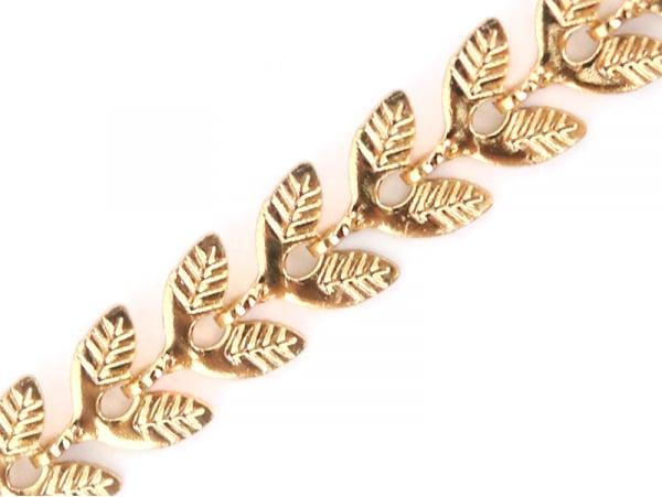 Chaine épis feuilles  - doré à l'or fin 24 K x 20 cm  - 1