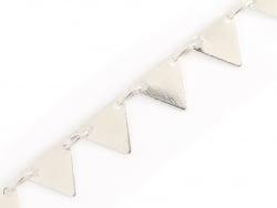 Chaîne fanion triangles 6 mm - plaqué argent 925 x 20 cm  - 1