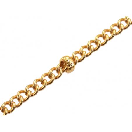Chaîne gourmette perlée - doré à l'or fin 24 K x 20 cm  - 1