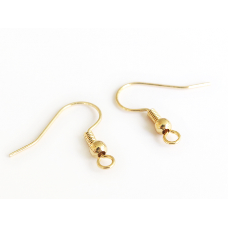 Paire de boucles d'oreilles crochet - dorée à l'or fin  - 2