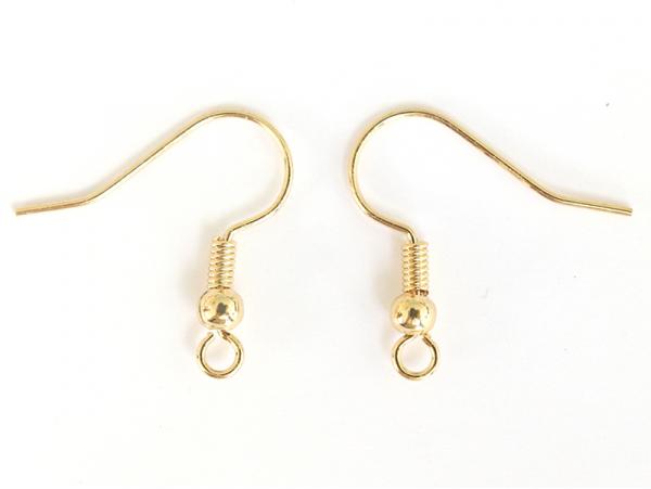 Paire de boucles d'oreilles crochet - dorée à l'or fin  - 1