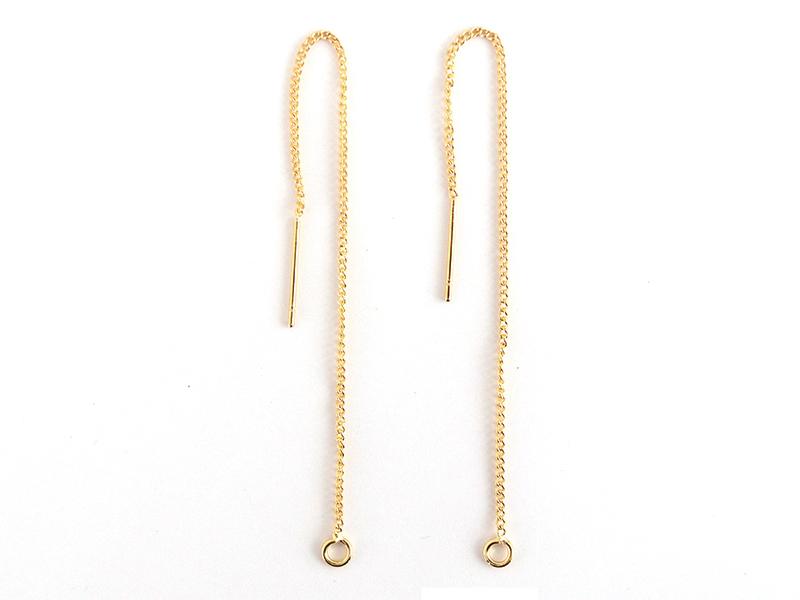 Acheter Paire de boucles d'oreilles chainette - dorée à l'or fin - 3,19€ en ligne sur La Petite Epicerie - Loisirs créatifs