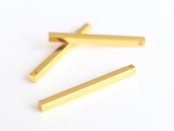 Pendentif bâton rectangulaire - doré à l'or fin  - 2