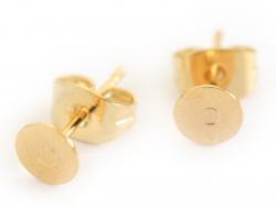 Paire de puces d'oreilles avec embouts - dorée à l'or fin  - 1