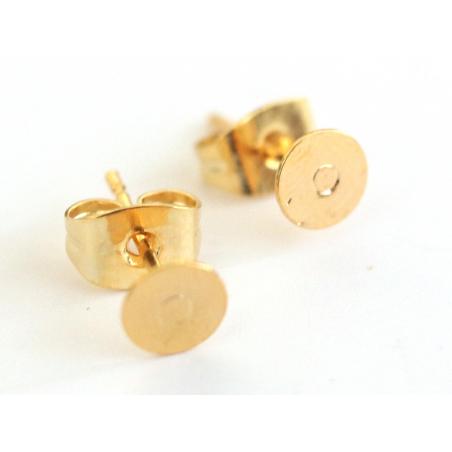 Paire de puces d'oreilles avec embouts - dorée à l'or fin  - 2