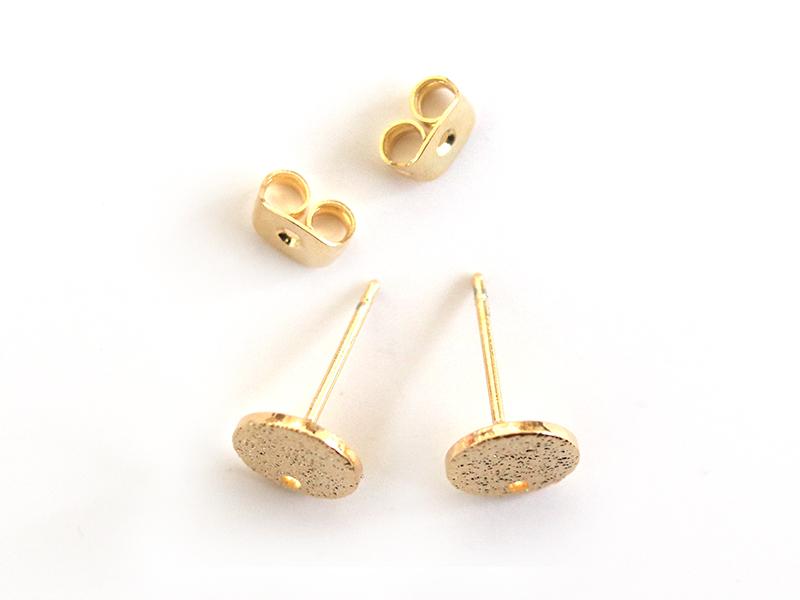 Paire de puces d'oreilles avec plateau pampille - dorée à l'or fin 18K  - 1