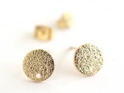 Paire de puces d'oreilles avec plateau pampille - dorée à l'or fin 18K  - 2
