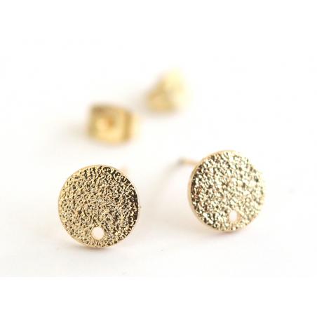 Acheter Paire de puces d'oreilles avec plateau pampille - dorée à l'or fin 18K - 3,99€ en ligne sur La Petite Epicerie - Loi...