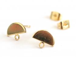 Acheter Paire de puces d'oreilles avec plateau demi-cercle - dorée à l'or fin 18K - 3,99€ en ligne sur La Petite Epicerie - ...