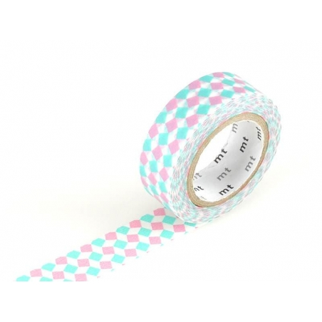 Patterned Masking Tape - Pink and turquoise squares