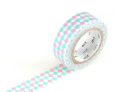 Masking tape motif - Carré rose et turquoise