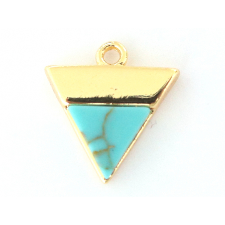 Pendentif triangle howlite turquoise - doré à l'or fin  - 2