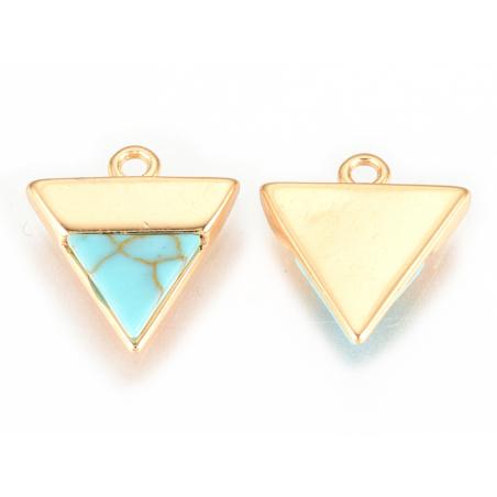 Pendentif triangle howlite turquoise - doré à l'or fin  - 3
