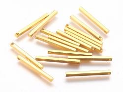 Pendentif bâton rectangulaire - doré à l'or fin  - 3