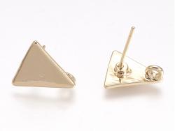 Paire de boucles d'oreilles puces triangle - dorée à l'or fin  - 1