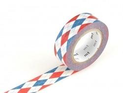 Masking tape motif - Tricot bleu et rouge