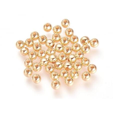 Acheter Lot de 10 perles rondes 4mm - dorées à l'or fin - 2,29€ en ligne sur La Petite Epicerie - 100% Loisirs créatifs