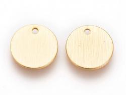 Pampille martelée ronde 9mm - dorée à l'or fin  - 4