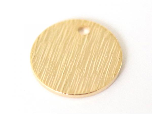 Pampille martelée ronde 9mm - dorée à l'or fin  - 1