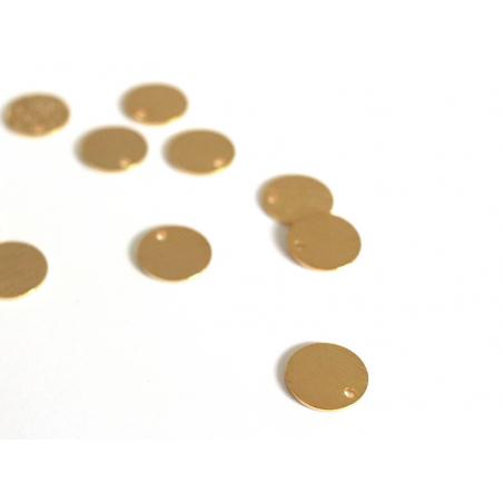 Pampille martelée ronde 9mm - dorée à l'or fin  - 2