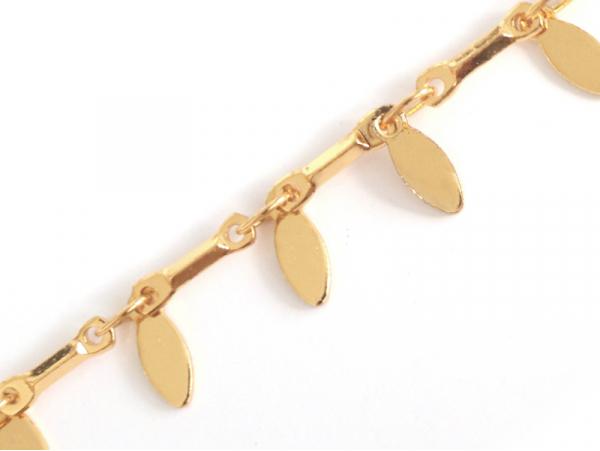 Chaîne fantaisie petites pendeloques - doré à l'or fin 24 K x 20 cm  - 1