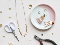 Chaîne fantaisie petites pendeloques - doré à l'or fin 24 K x 20 cm  - 2